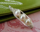 Pea Pod necklace - mothers necklace - peapod jewelry - 3, 4, or 5 peas in a pod necklace - white freshwater pearl - sterling silver necklace