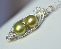 Pea Pod necklace - Two peas in a pod - peapod necklace - green freshwater pearl - a  Mu-Yin Jewelry original