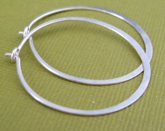 MEDIUM 1 inch sterling silver hoop earrings