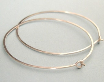 LARGE and skinny 1.5 inch sterling silver forged wire hoop earrings