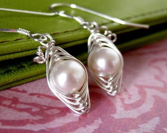 Peapod earrings, peas in a pod freshwater pearl sterling silver earrings