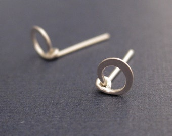 Tiny Teeny Circle Posts sterling silver wire stud earrings