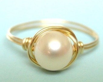freshwater pearl ring - classic ivory white pearl, 14K gold filled wire wrap