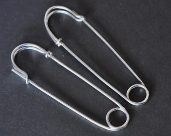 SAFETY PIN earrings - large 2 inch - sterling silver - hoop earrings