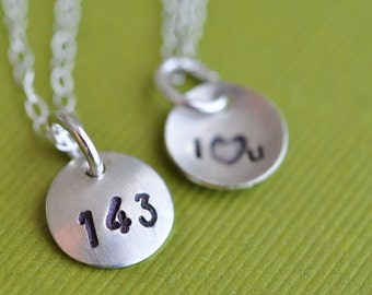 tiny 143 ( i love you ) hand stamped necklace in sterling silver