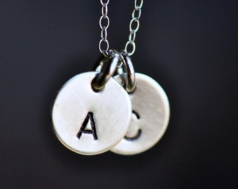 Perfect Match ( two initials ) hand stamped necklace in sterling silver