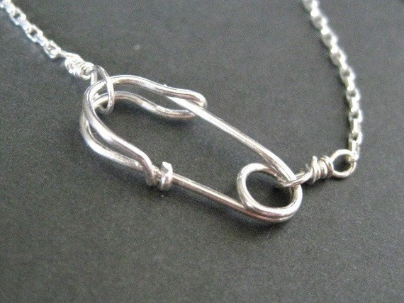 Handcrafted Safety Pin Front Clasp Necklace In By Muyinmolly