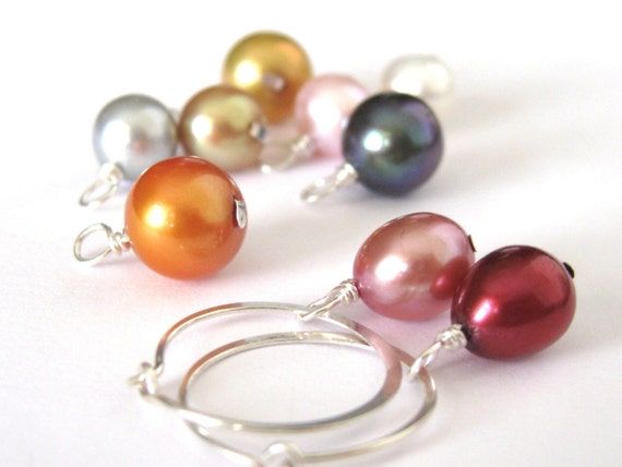 PICK YOUR COLOR interchangeable freshwater pearl charms - One Pair