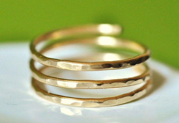 TRINITY (open band) Adjustable textured wire wrap ring - custom sized - 14k gold filled - wire wrap ring