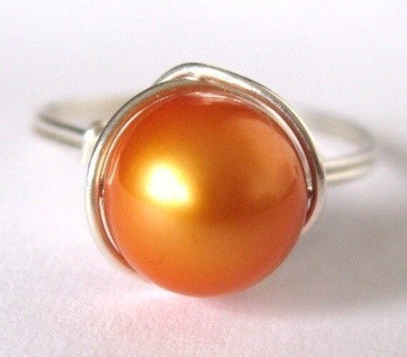 THE AMAZING PUMPKIN intense golden orange pearl sterling silver wire wrapped ring -- Limited Edition