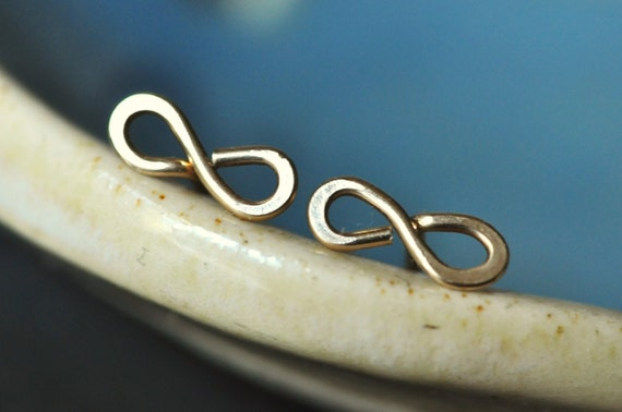 Tiny Teeny Infinity Posts 14k gold filled wire stud earrings