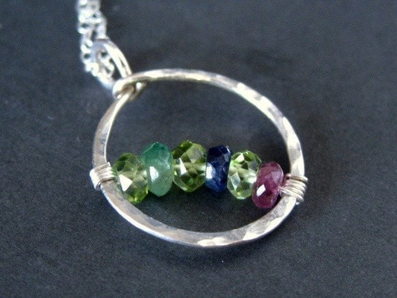 custom Grandmothers / Mothers family birthstone necklace CIRCLE OF LOVE, sterling silver, natural gemstone (pick 5 to 7 stones)