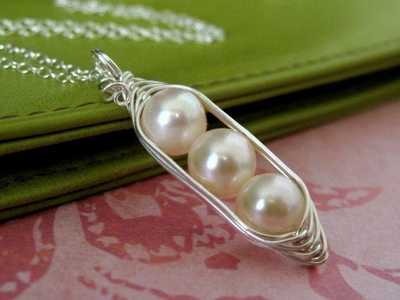 Pea Pod necklace - peapod jewelry - Three peas in a pod necklace - white freshwater pearl - sterling silver necklace