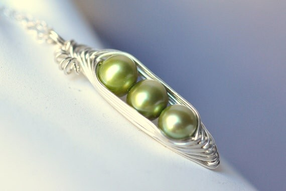 Pea Pod necklace - THREE peas in a pod - peapod necklace - green freshwater pearls - peapod jewelry - a Mu-Yin Jewelry original