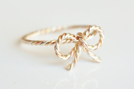 TINY BOW rope ring - mixed metal twisted wire wrap