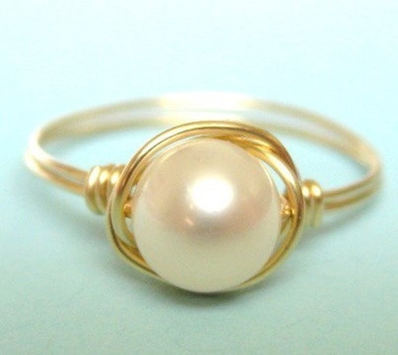 FREE SHIPPING PROMO--CLASSIC white pearl 14K gold filled wire wrap wrapped ring