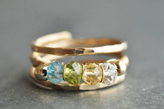 Grandmother ring / Mother Ring / FAMILY BIRTHSTONE ring / sisters ring- 14K gold filled, genuine gemstones - 3, 4 or 5 stones +filler beads
