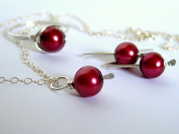 Medium Red Wine freshwater pearl sterling silver jewelry set-- earrings,ring and necklace