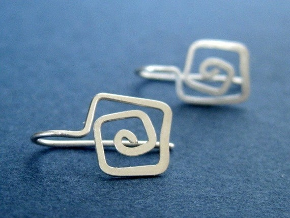 GEOMETRY FUN -- SQUARE forged artisan sterling silver wire earrings