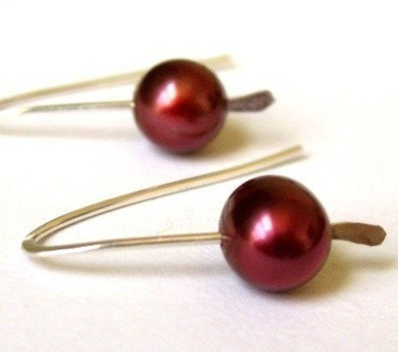 TINY HOOKS CHERRY RED freshwater pearl sterling silver earrings