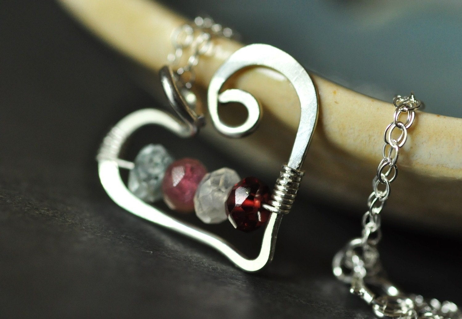mothers family birthstone necklace open heart small sterling. Black Bedroom Furniture Sets. Home Design Ideas