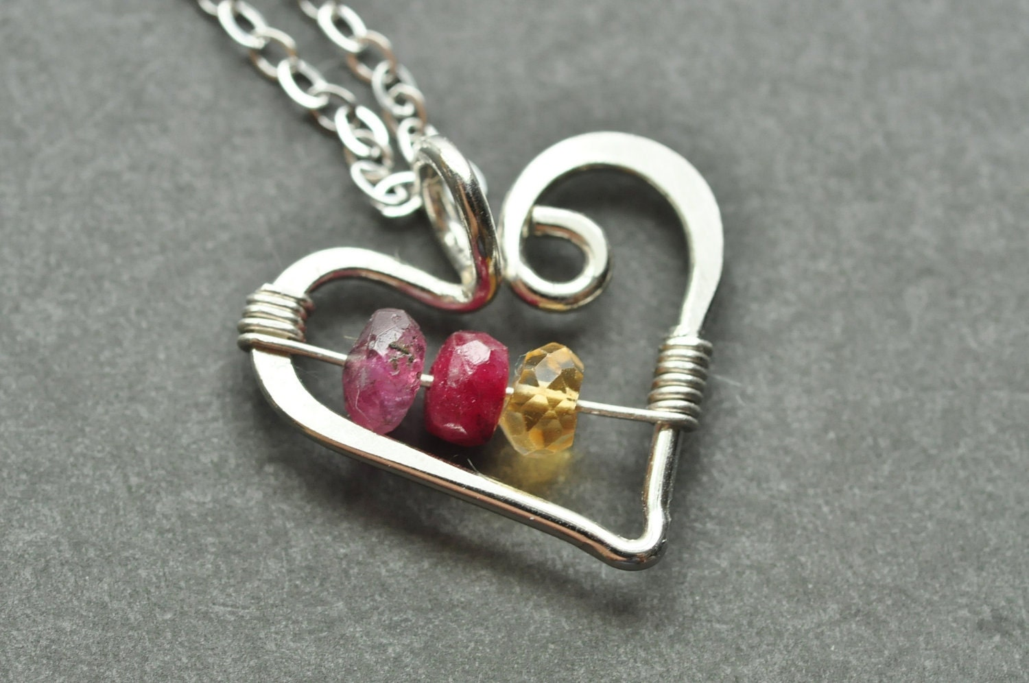 mothers family birthstone necklace open heart small. Black Bedroom Furniture Sets. Home Design Ideas