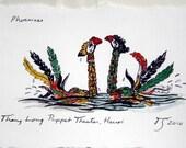 pair of phoenixes - hand-colored print