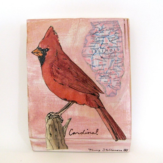 Cardinal -- Illinois state bird painting