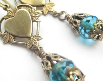 Hearts and  Leaves ... Aqua Victorian Earrings