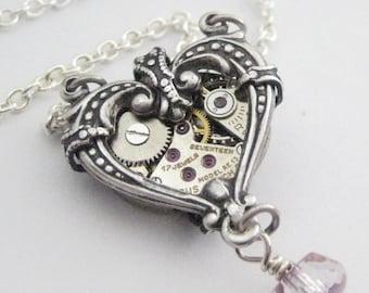 La Petite Heart Silver Steampunk Necklace, Victorian Heart Steampunk Silver Filigree Pendant