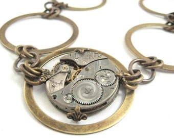 Time Circles , Circle  Steampunk Necklace, Steampunk Watch Movement Circles, One of A Kind Steampunk Creation