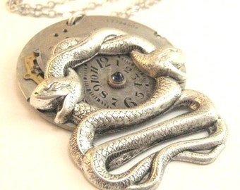 Silver Snakes ... Steampunk Watch Plate Dial Snake One of a Kind Creation