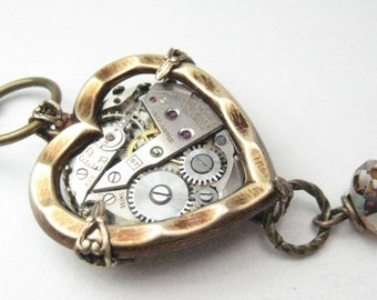Steamy Heart  Steampunk, Steampunk necklace, steampunk heart,   steampunk jewelry, victorian,
