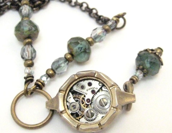 Misty Time ,  Steampunk WatchCase Necklace, Steampunk Victorian Necklace,