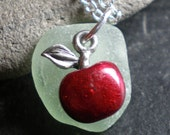 THE BIG APPLE - Genuine Sea Glass Jewelry - Pendant Necklace