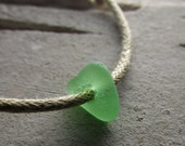 Green Sea Glass Jewelry, Slide Bracelet or Anklet  - EARTH CHILD