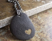 RESERVED for CHRISTA - I Heart  You - Genuine Beach Stone Jewelry - PENDANT