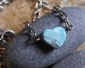Blue Heart Necklace - I HEART RI - Turquoise Jewelry