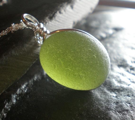 Autumn Moon - Genuine Sea Glass Jewelry - Pendant Necklace