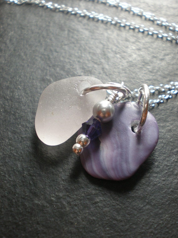 Luscious Lavender - Genuine Sea Glass Jewelry - Cluster Necklace