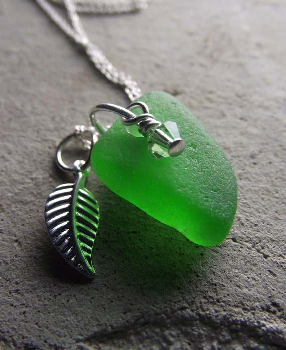 Sprout  - Genuine Sea Glass Jewelry  -  Cluster Necklace