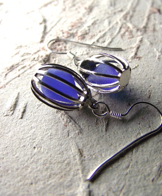 Blue Birds  - Sea Glass Jewelry - Bird Cage Earrings