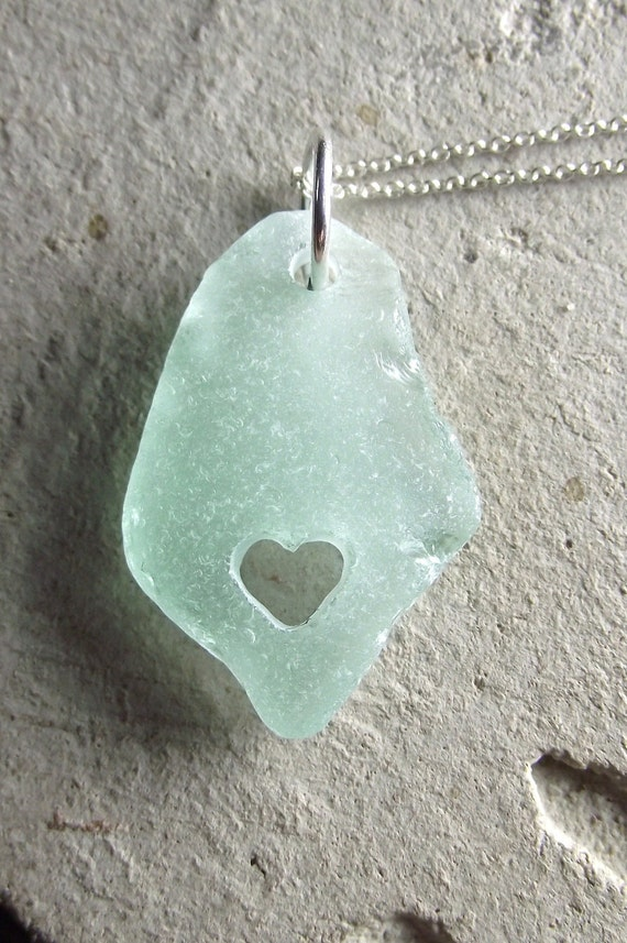I Heart Mexico - Genuine Sea Glass Jewelry - Hand Carved Heart Necklace