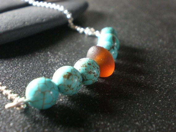 SALE - MIDDLETOWN - Genuine Sea Glass and Turquoise Necklace