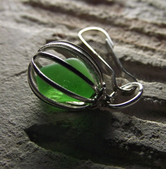 Evergreen  - Genuine Sea Glass Jewelry - Purse Dangle, Zipper Pull or Pendant