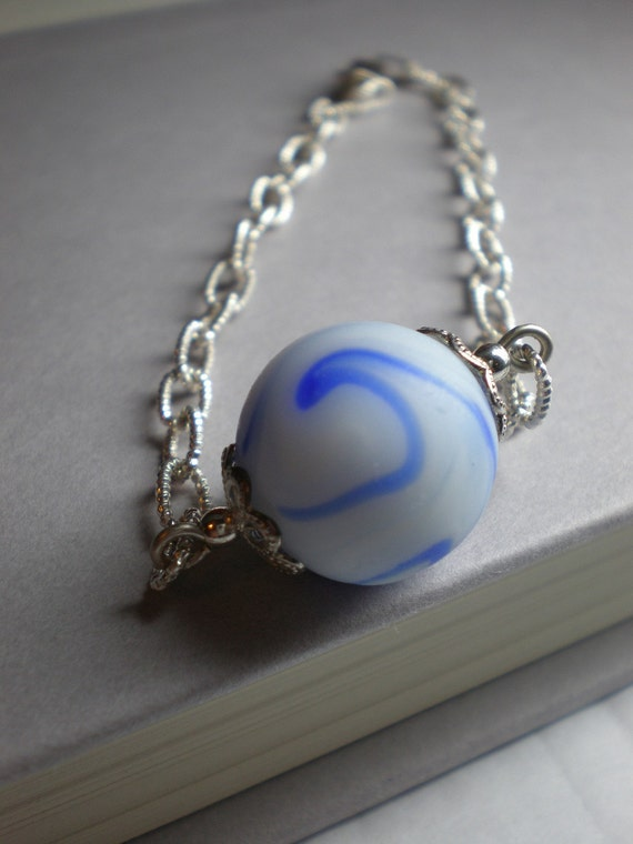 Sea Glass Marble Bracelet..... Ride the Wave..... Sterling Jewelry - ON SALE