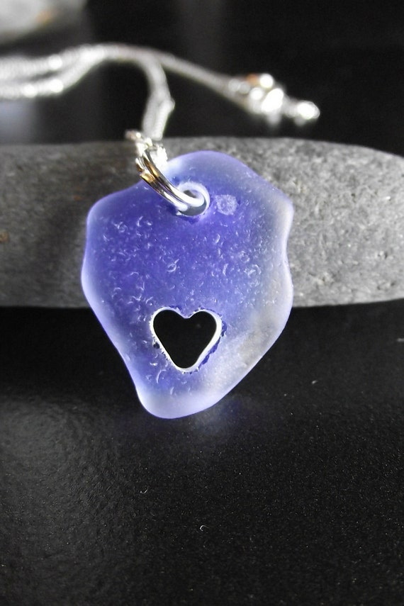 Sea Glass Jewelry - I HEART YOU - Seaglass Carved Heart Necklace