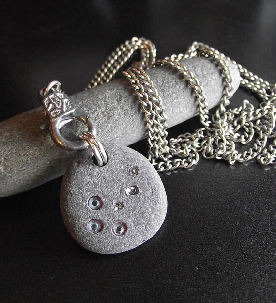 Emma's Comet - Beach Stone Jewelry - Swarovski Crystal Necklace