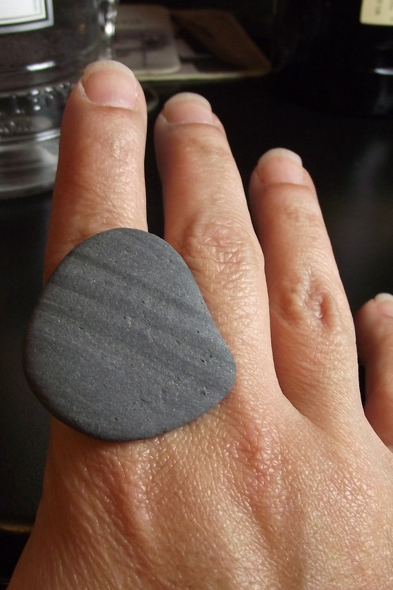 Beach Stone Jewelry - Adjustable STRIPED Ring - NICE ROCK