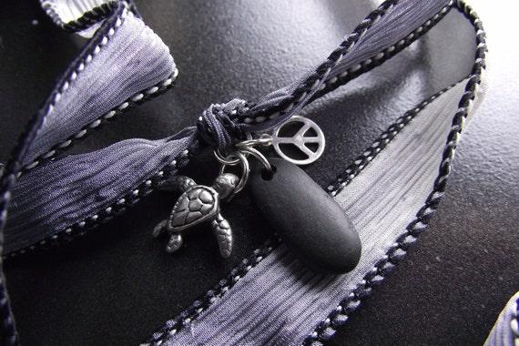 Beach Stone Jewelry -  Silk Ribbon Wrap Charm  Bracelet, Necklace, Or Anklet - WRAP IT UP